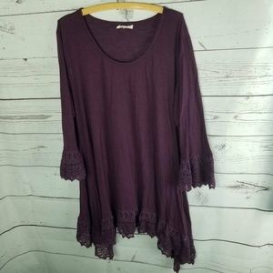 Indigo Soul Womens Top Purple Heathered Bell Sleev